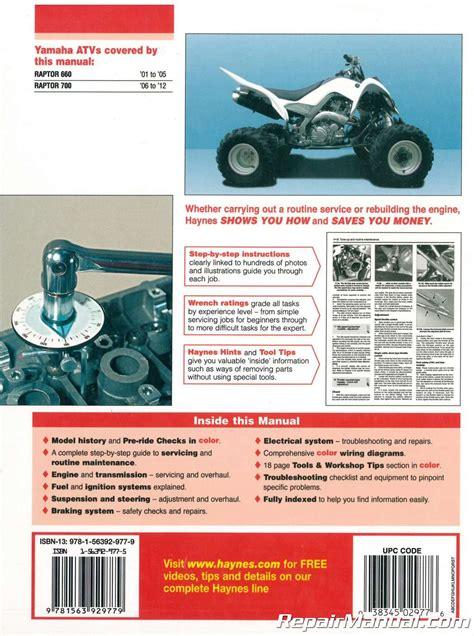 Yamaha Raptor 660 700 2001 2012 Atv Repair Manual By Haynes H2977