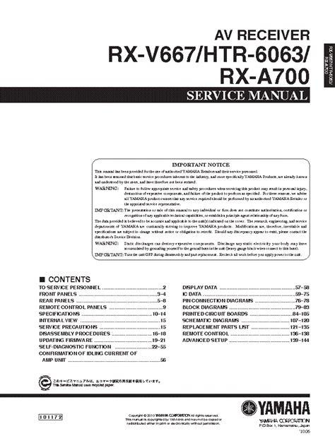 Yamaha Rx V667 Htr 6063 Rx A700 Av Receiver Service Manual
