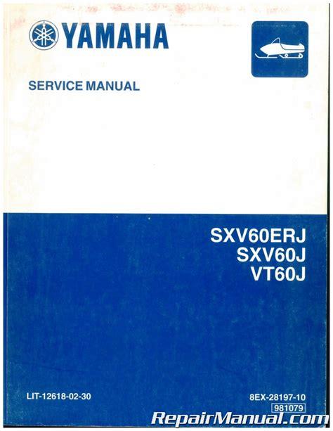 Yamaha Sxv Snowmobile Repair Manual