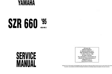 Yamaha Szr660 Szr 600 1996 Repair Service Manual