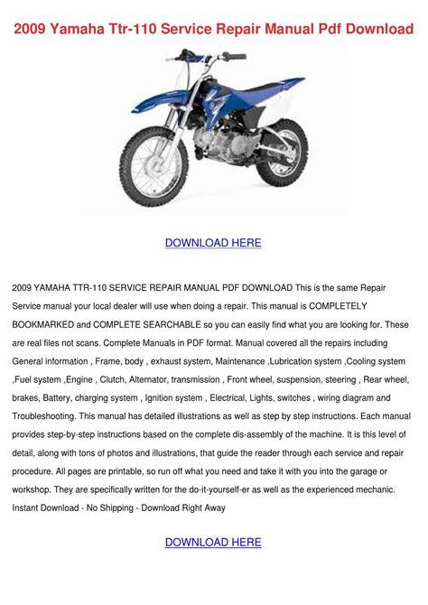 Yamaha Ttr 110 Service Manual