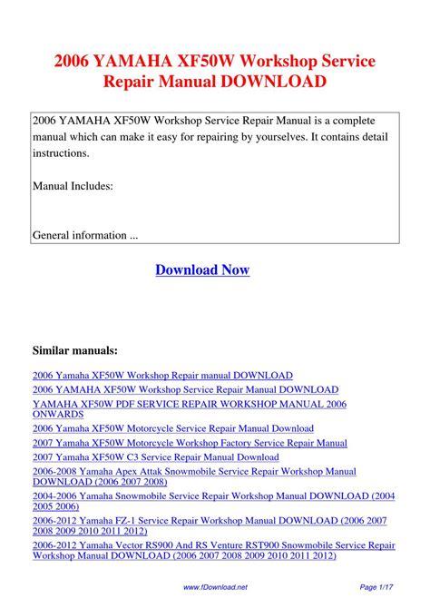 Yamaha Xf50w 2006 Motorcycle Service Repair Workshop Manual Improved