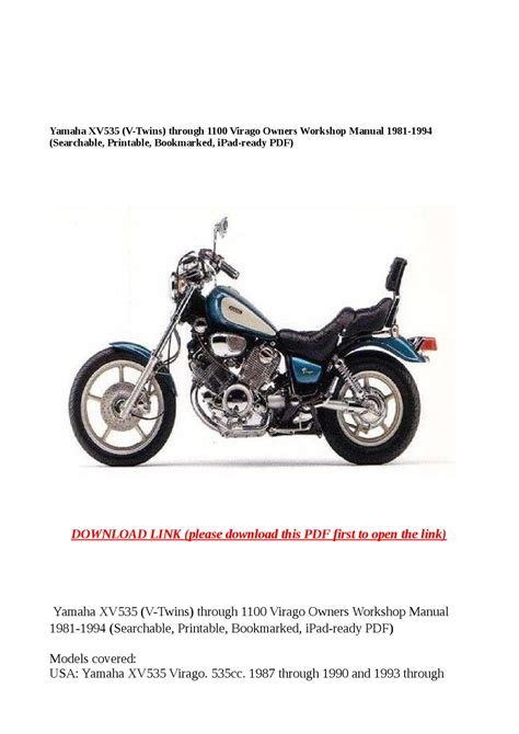 Yamaha Xv535 V Twins Through 1100 Owner Workshop Manual