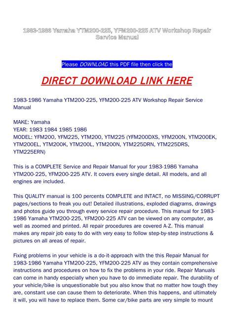 Yamaha Yfm200n 1983 1986 Workshop Service Repair Manual