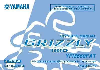 Yamaha Yfm660fat Grizzly Owners Manual 2005 Model