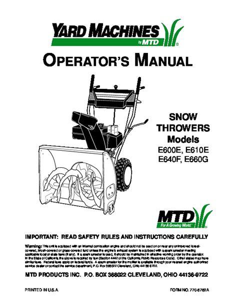 Yard Machine Parts Manual