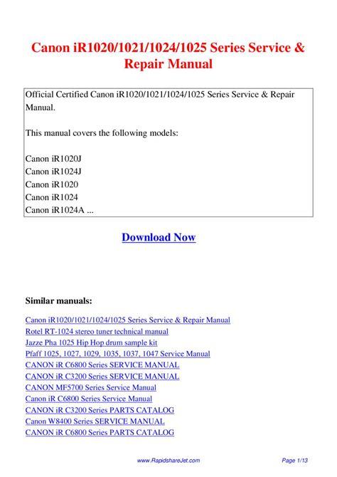 Canon Ir1020 Series Repair Service Manual User Guides EBook - 148 ...
