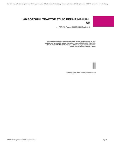 Lamborghini Tractor 874 90 Repair Manual Uk