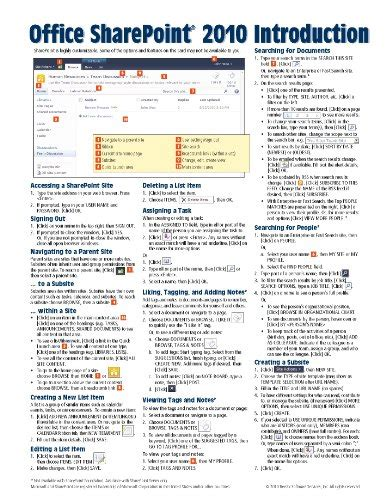 microsoft sharepoint 2010 quick reference guide introduction cheat sheet of instructions tips and shortcuts laminated card