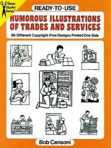 ready to use illustrations of services and trades 98 different copyright free designs printed one side dover clip art ready to use
