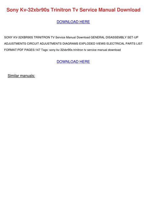 Download Sony Kv 32xbr90s Trinitron Tv Service Manual Pdb Manual On Hm Phonetechsupport Online