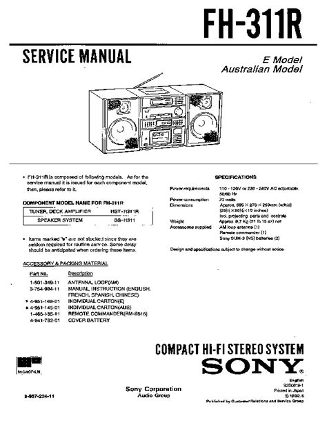 Sony Service Manuals - PDF - sp1 skipprichard com