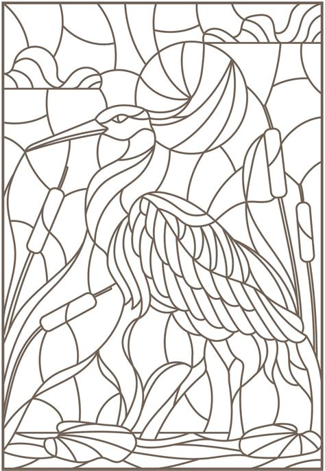 stained glass coloring book bird designs